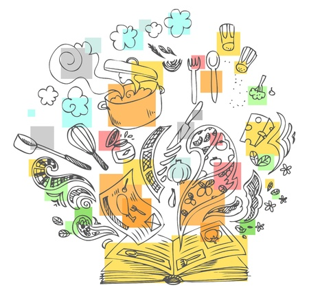 preparing food: Sketchy doodle illustration with cooking book and ingredients Illustration