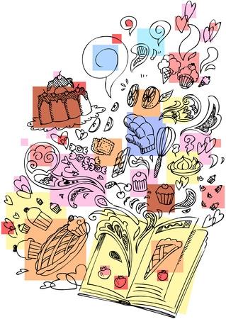 cooking book: Dessert cooking book sketchy doodle