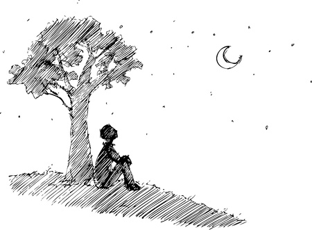 alone boy: Man looking at the moon under a tree Illustration
