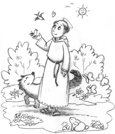 friar: Coloring illustration of Saint Francis with wild animals