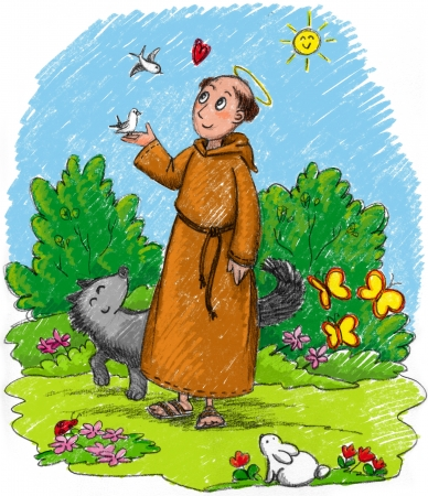 Saint Francis of Assisi in a wood with wild animals  Stock Photo