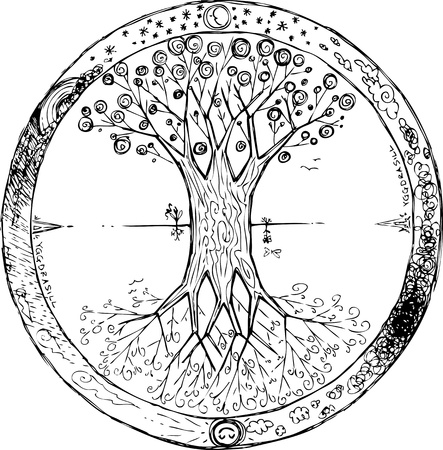 ash: Yggdrasil celtic tree of life mandala Illustration