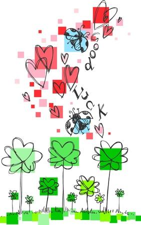four leaved: Flying ladybugs, shamrocks and hearts to wish good luck   Illustration