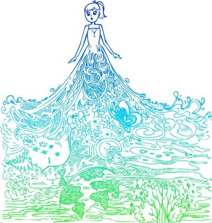 bocetos de personas: Mujer con vestido increíble ilustración garabato Sketchy