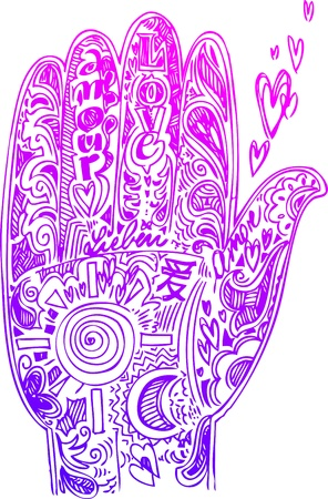 feelings and emotions: Pink hand with hearts and love doodles Illustration