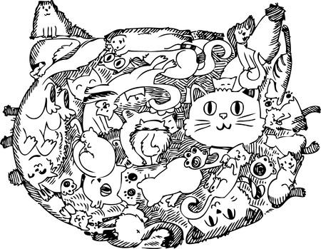 Cara de gato hecha de gatos Foto de archivo - 19014535