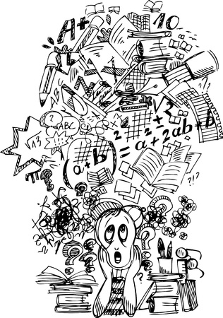 Very busy stressed schoolboy in black and white Stock Vector - 19014534