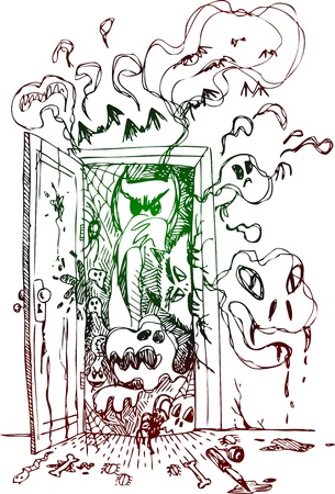 terrifying: Terrifying open door with ghosts, monsters and bats