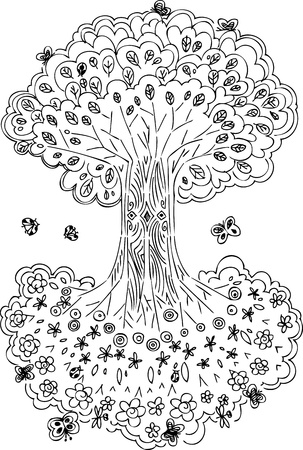 Tree of life with flowers and fruits  Can see it upside down Vector