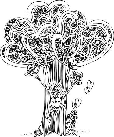 Tree of love with cute howl  Black and white vector Stock Vector - 19138325