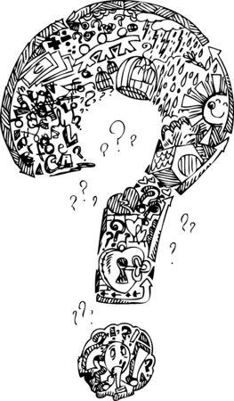 interrogativa: Marca de interrogación llena de cosas garabato dibujado