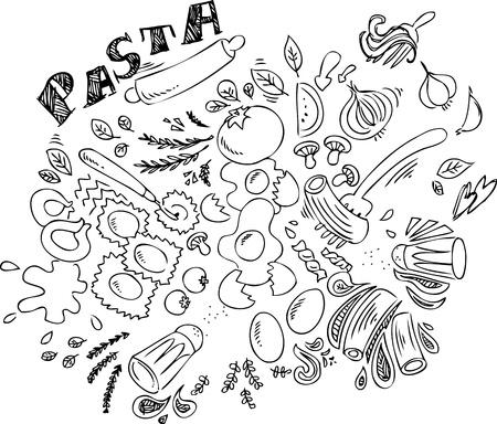 Pasta e ingredientes para cocinar comida italiana Ilustración de vector
