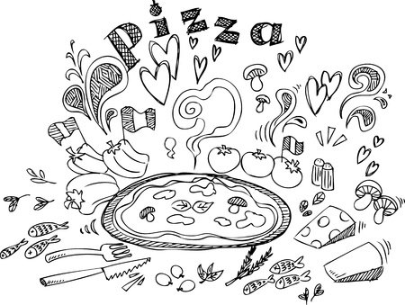 pizza ingredients: Digital illustration of pizza and ingredients  Illustration