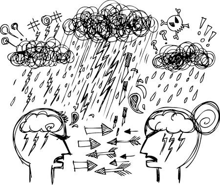 Sketch doodles pareja discutiendo