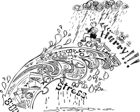 hombre preocupado: Doodles bosquejo Date prisa