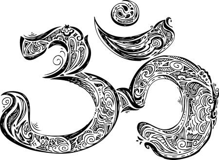 eastern philosophy: Black Om symbol 2