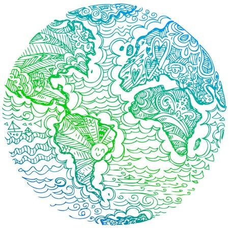 Planet earth green sketched doodle Illustration