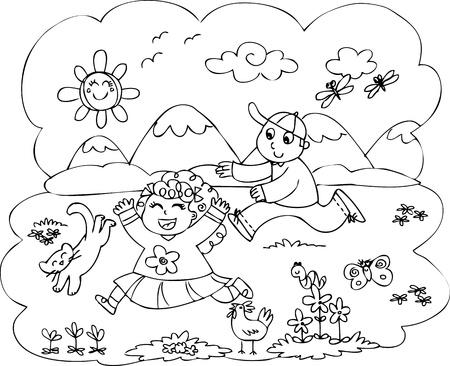 Bambini che giocano in campagna Archivio Fotografico - 22280043
