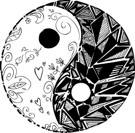 yin yang symbol: Black and white TAO symbol Illustration