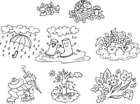Coloriage éléments d'automne pour les enfants