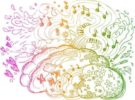 Derecho emociones cerebrales del hemisferio, la vida espiritual, intuiciones, la música, la creatividad Ilustración de vector