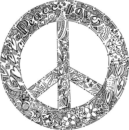 peace symbol: Black and white PEACE symbol Illustration