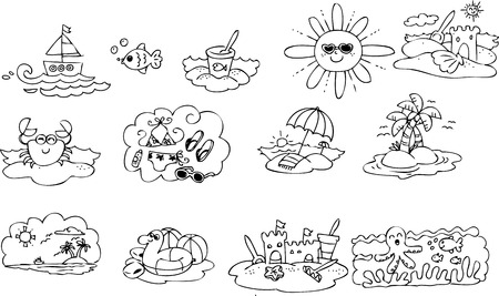 Coloring summer elements for children Vector