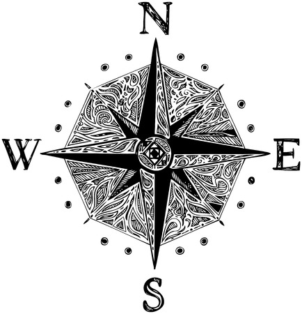 south east: Black and with decorated wind rose Illustration
