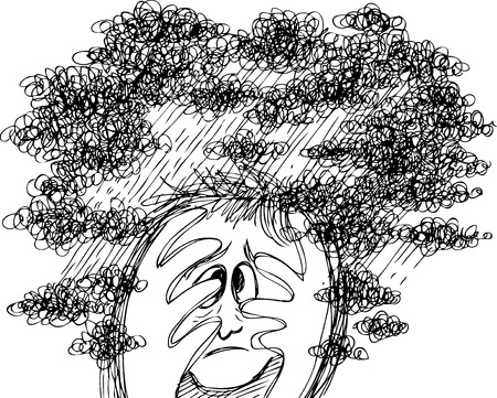 Scared man in stormy clouds Illustration