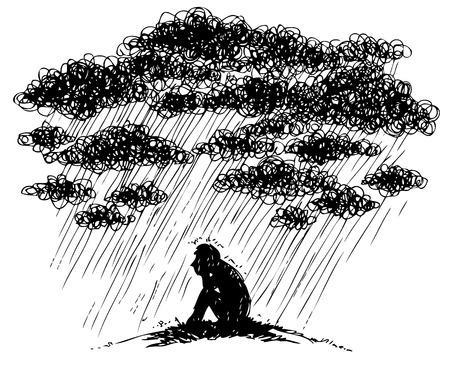 Sad man under a stromy rain, sketchy illustration