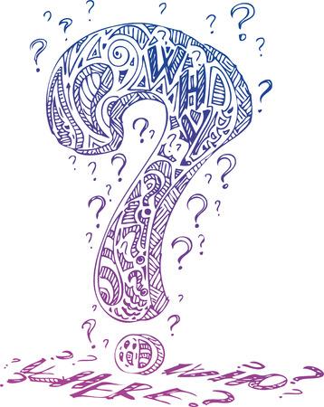 questioning: Interrogation Marke mit Kritzeleien und den Worten, wer, wo und warum Illustration