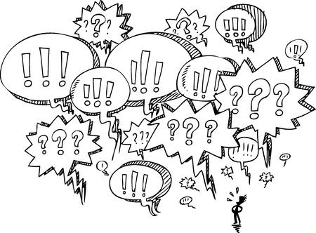conversing: Man with speach balloons