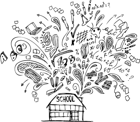 digital school: School building with doodles about education