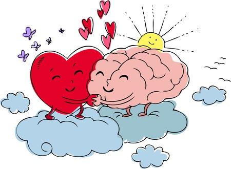 sentimientos y emociones: Coraz�n y cerebro se abrazan con amor Vectores