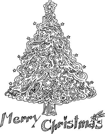 ornated: Christmas tree decorated with doodles