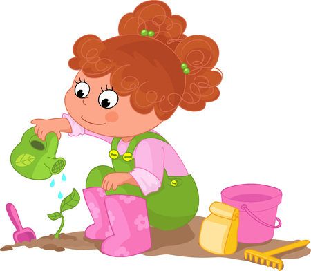 offshoot: Cute young girl watering a sprout Illustration
