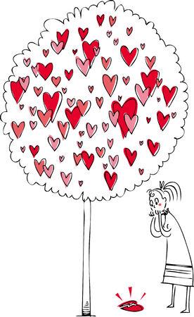 corazon roto: Mujer cerca de un árbol de amor, mirando a un corazón roto
