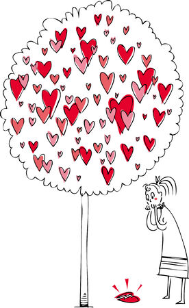 broken love: Woman near a love tree, looking at a broken heart