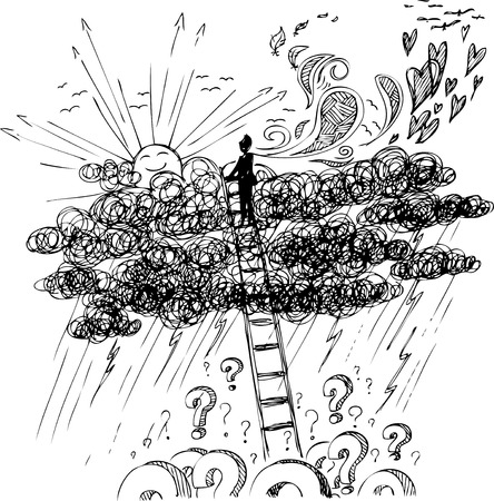 rainy sky: Hombre que alcanza el sol con una escalera por encima de una tormenta
