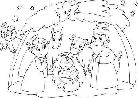 cristian: Christmas nativity scene  Jesus , Mary and Joseph