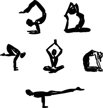 sketched: Black sketched advanced yoga poses   Illustration
