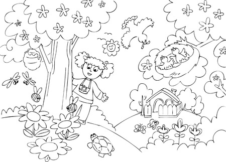 Young girl with camera in the park Vector