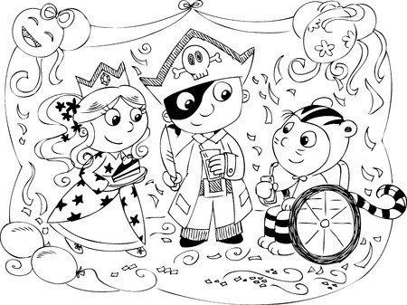 carnival costume: children at carnival party  Illustration