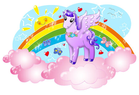 Cute pegasus in the sky with sun and rainbow  photo