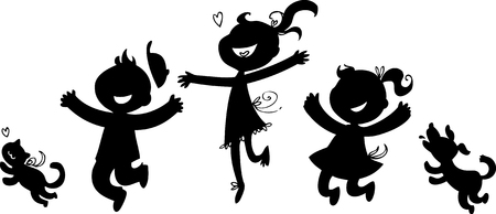 group of pets: Black silhouettes of boy, two girls, cat and dog Illustration