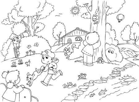 colouring: Kids playing hide and seek, one of them in on wheelchair  Illustration