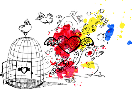 Cute birds in love escaping from a cage  Illustration