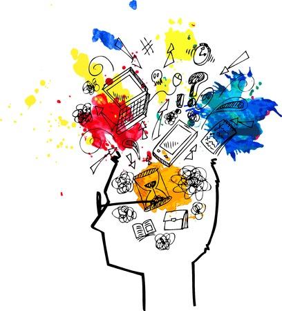 mente: Cabeza de hombre lleno de pensamientos confusos Vectores
