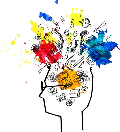 Man head full of confused thoughts Illustration