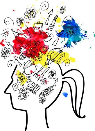 Vrouw het hoofd vol met dingen om te doen Stock Illustratie